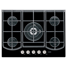 Buy AEG HG795440NB Designer Gas Hob, Black Glass Online at johnlewis.com