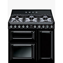 Buy Smeg TR93BL Dual Fuel Range Cooker with HALF PRICE KT90BL 90cm Chimney Cooker Hood, Black Online at johnlewis.com