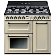 Buy Smeg TR93P Dual Fuel Range Cooker with HALF PRICE KT90P 90cm Chimney Cooker Hood, Cream Online at johnlewis.com