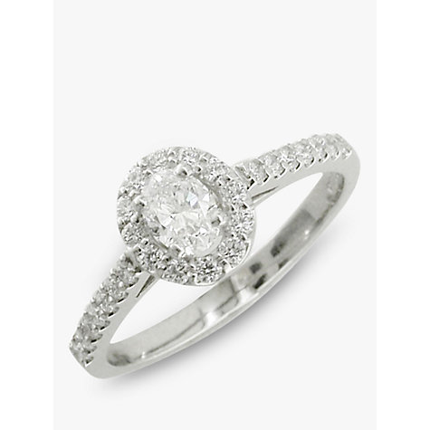 Buy EWA Platinum Oval Cut Diamond Cluster Engagement Ring, Platinum Online at johnlewis.com