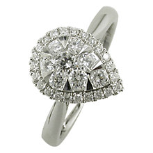 Buy EWA 18ct White Gold 0.66ct Pear Shaped Diamond Cluster Engagement Ring, M Online at johnlewis.com