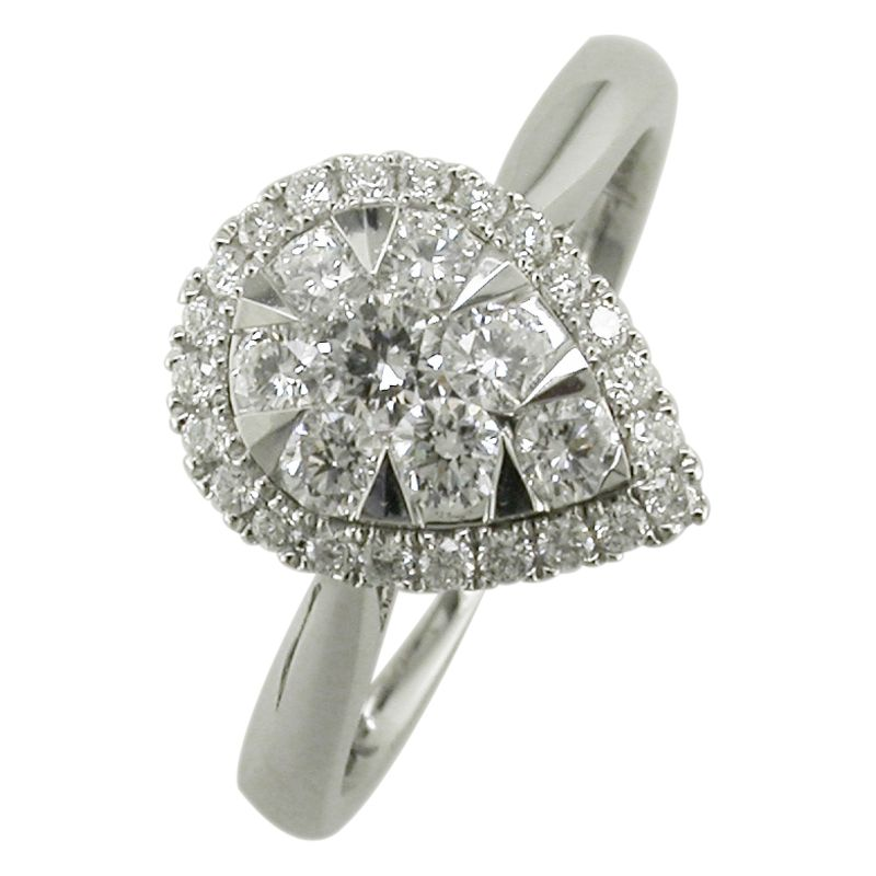 buy ewa 18ct white gold pear shaped cluster