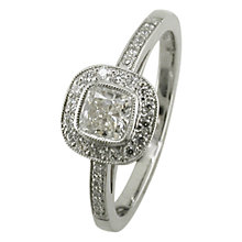 Buy EWA 18ct White Gold 0.65ct Cushion Cut Diamond Surround Engagement Ring, N Online at johnlewis.com