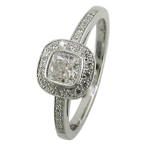 Buy EWA 18ct White Gold Cushion Cut Diamond Surround Engagement Ring, White Gold Online at johnlewis.com