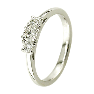 EWA 18ct White Gold 0.38ct Triple Diamond Engagement Ring, M