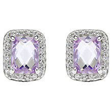 Buy Jou Jou Sterling Silver Cubic Zirconia Rectangular Stud Earrings, Lavender Online at johnlewis.com