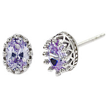 Buy Jou Jou Sterling Silver Cubic Zirconia Oval Stud Earrings, Lavender Online at johnlewis.com