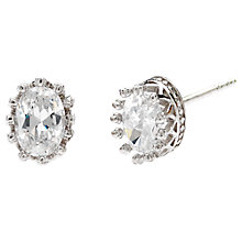 Buy Jou Jou Sterling Silver Oval Cubic Zirconia Stud Earrings Online at johnlewis.com