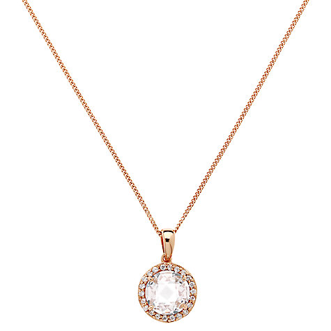 Buy Jou Jou Sterling Silver Round Cubic Zirconia Pendant, Rose Gold Online at johnlewis.com