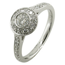 Buy EWA 18ct White Gold 0.68ct Brilliant Cut Diamond Surround Engagement Ring, N Online at johnlewis.com