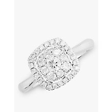 Buy EWA 18ct White Gold Diamond Cushion Cluster Engagement Ring, White Gold Online at johnlewis.com