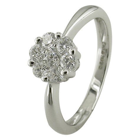 Buy EWA 18ct White Gold 0.50ct Brilliant Cut Diamond Cluster Engagement Ring, N Online at johnlewis.com