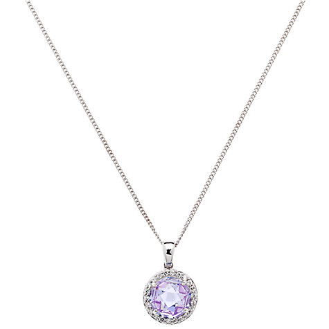 Buy Jou Jou Sterling Silver Cubic Zirconia Round Pendant, Lavender Online at johnlewis.com