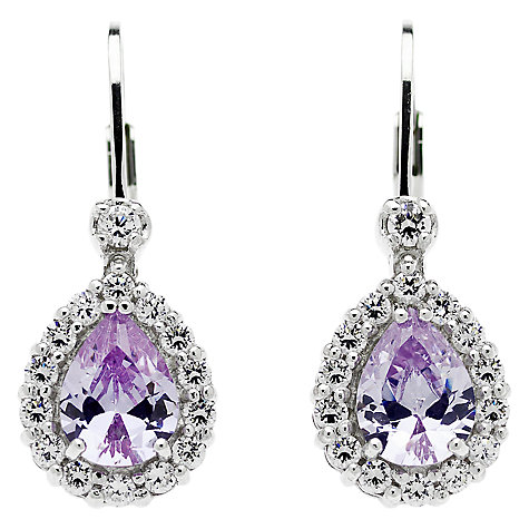 Buy Jou Jou Sterling Silver Cubic Zirconia Teardrop Earrings, Lavender Online at johnlewis.com