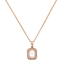 Buy Jou Jou Sterling Silver Rectangular Cubic Zirconia Pendant, Rose Gold Online at johnlewis.com