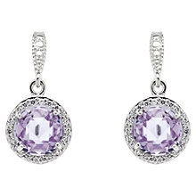 Buy Jou Jou Sterling Silver Cubic Zirconia Round Hook Earrings, Lavender Online at johnlewis.com