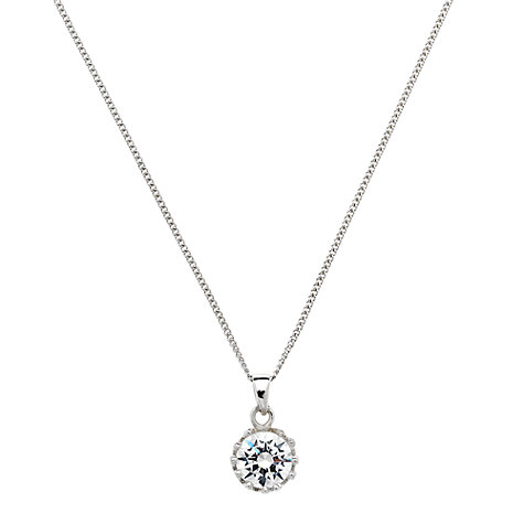 Buy Jou Jou Sterling Silver Cubic Zirconia Small Round Pendant, Rhodium Online at johnlewis.com