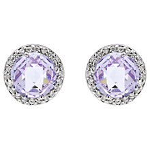 Buy Jou Jou Sterling Silver Cubic Zirconia Round Stud Earrings, Lavender Online at johnlewis.com