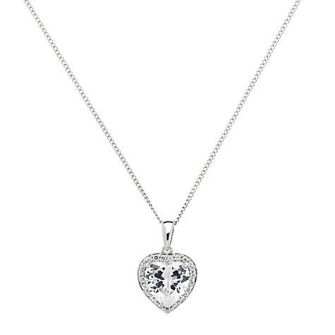 Buy Jou Jou Sterling Silver Cubic Zirconia Heart Pendant, Rhodium Online at johnlewis.com