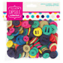 Docrafts Paper Mania Capsule Collection Spots and Stripes Assorted Buttons, Bright
