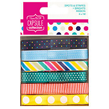 Buy Docrafts Papermania Capsule Collection Spots and Stripes Ribbons, Pack of 6, Multi Online at johnlewis.com