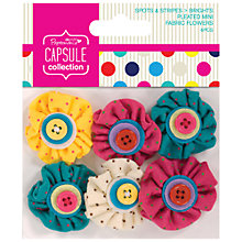 Buy Docrafts Papermania Capsule Collection Spots and Stripes Mini Fabric Flowers, Pack of 6, Multi Online at johnlewis.com