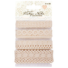 Buy Papermania Vintage Notes Lace Borders, Pack of 4 Online at johnlewis.com
