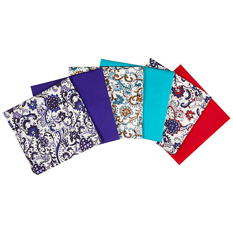 Buy John Lewis Patterned and Plain Fat Quarters, Pack of 6, Mixed Paisley Online at johnlewis.com