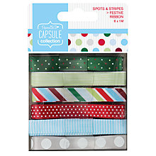 Buy Docrafts Capsule Collection Festive Spots and Stripe Ribbon, Pack of 6 Online at johnlewis.com