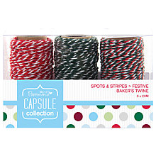 Buy Docrafts Capsule Collection Festive Spots and Stripes Baker's Twine, Pack of 3 Online at johnlewis.com
