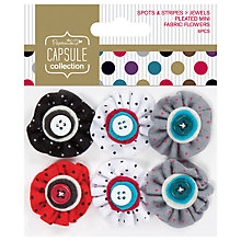 Buy Docrafts Papermania Capsule Collection Spots and Stripes Jewels Mini Fabric Flowers, Pack of 6 Online at johnlewis.com