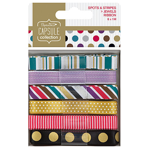 Buy Docrafts Capsule Collection Jewel Spots and Stripes Ribbon, Pack of 6 Online at johnlewis.com