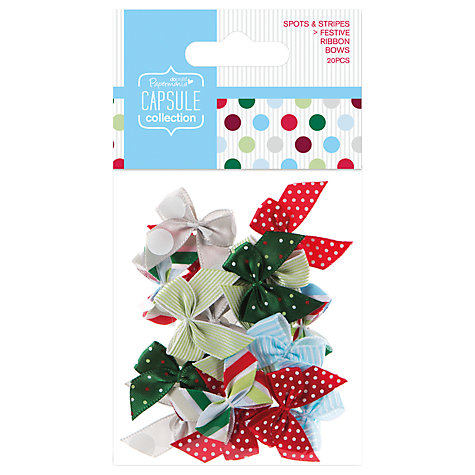 Buy Docrafts Capsule Collection Festive Spots and Stripes Ribbon Bows, Pack of 20 Online at johnlewis.com
