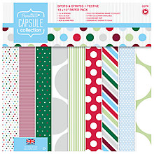 Buy Docrafts Capsule Collection Spots and Stripes Festive Paper, Pack of 32 Online at johnlewis.com