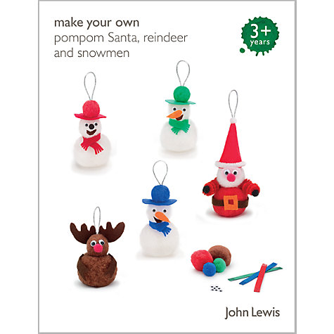 Buy John Lewis Christmas Pom Pom Tree Decorations Kit Online at johnlewis.com