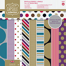 Buy Docrafts Capsule Collection Jewel Spots and Stripes Paper, Pack of 32 Online at johnlewis.com