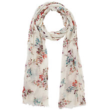 Buy Fat Face Hollyhocks Floral Print Lightweight Scarf, Pale Turquoise Online at johnlewis.com