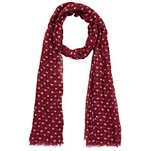 Buy Fat Face Ditsy Heart Print Light Weight Scarf, Red Online at johnlewis.com