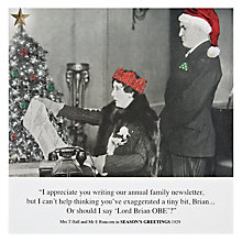 Buy Card Mix Woman Reading Family Newsletter Man Behind Christmas Card Online at johnlewis.com