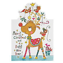 Buy Rachel Ellen Designs Reindeer Christmas Card Online at johnlewis.com