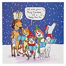 Buy Woodmansterne Cats And Dogs Carol Singing Christmas Card Online at johnlewis.com