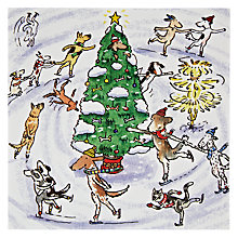 Buy Woodmansterne Dogs Ice Skating Around Christmas Tree Card Online at johnlewis.com