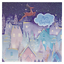 Buy Woodmansterne Reindeer Flying Over Houses Christmas Card Online at johnlewis.com