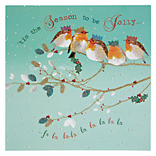 Buy Woodmansterne Five Robins on a Branch Christmas Card Online at johnlewis.com