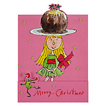 Buy Woodmansterne Girl Balancing Pudding on Head Christmas Card Online at johnlewis.com