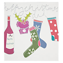 Buy Caroline Gardner Happy Christmas Dad Stockings And Wine Christmas Card Online at johnlewis.com