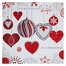 Buy Hammond Gower Darling Wife Hearts Christmas Card Online at johnlewis.com