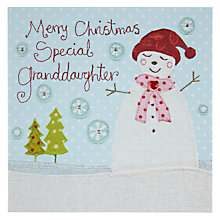 Buy Blue Eyed Sun Special Granddaughter Snowman Christmas Card Online at johnlewis.com