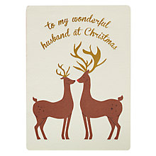 Buy James Ellis Stevens Reindeer Husband Retro Christmas Card Online at johnlewis.com