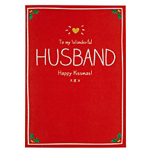 Buy Pigment Wonderful Husband Happy Kissmas Christmas Card Online at johnlewis.com